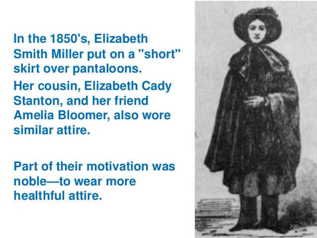 """In the 1850's, Elizabeth Smith Miller put on a """"short"""" skirt over pantaloons. Her cousin, Elizabeth Cady Stanton, and her ..."""
