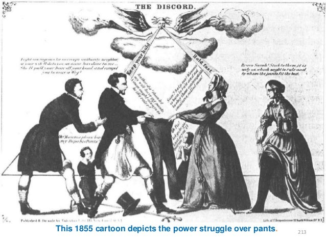 This 1855 cartoon depicts the power struggle over pants.  213