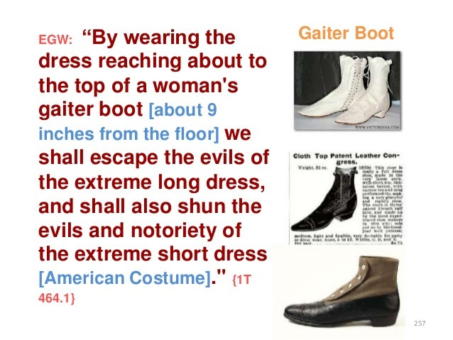 """""""By wearing the dress reaching about to the top of a woman's gaiter boot [about 9 inches from the floor] we shall escape t..."""