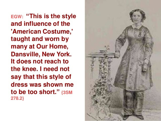 """""""This is the style and influence of the 'American Costume,' taught and worn by many at Our Home, Dansville, New York. It d..."""
