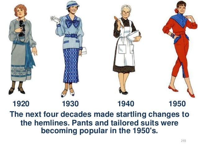 1920 1930 1940 1950 The next four decades made startling changes to the hemlines. Pants and tailored suits were becoming p...