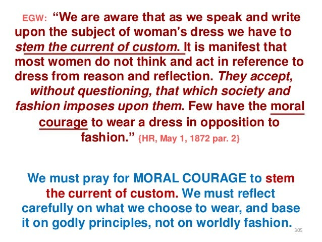 """""""We are aware that as we speak and write upon the subject of woman's dress we have to stem the current of custom. It is ma..."""