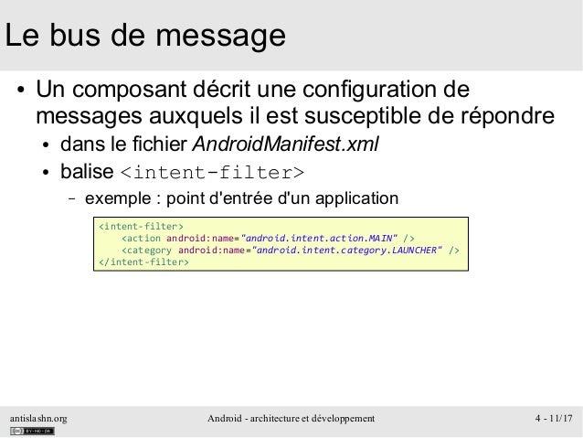 antislashn.org Android - architecture et développement 4 - 11/17 Le bus de message ● Un composant décrit une configuration...