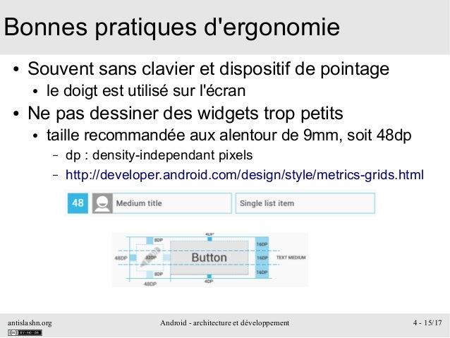 antislashn.org Android - architecture et développement 4 - 15/17 Bonnes pratiques d'ergonomie ● Souvent sans clavier et di...