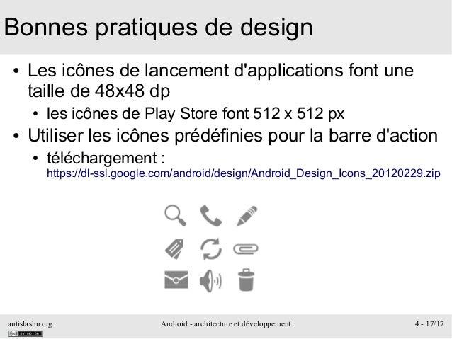 antislashn.org Android - architecture et développement 4 - 17/17 Bonnes pratiques de design ● Les icônes de lancement d'ap...