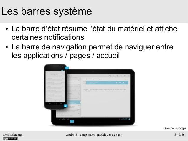 antislashn.org Android - composants graphiques de base 5 - 3/56 Les barres système ● La barre d'état résume l'état du maté...