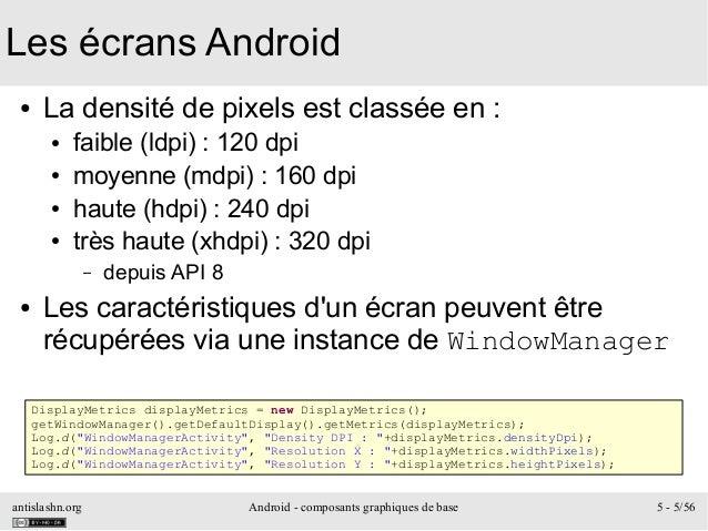 antislashn.org Android - composants graphiques de base 5 - 5/56 Les écrans Android ● La densité de pixels est classée en :...