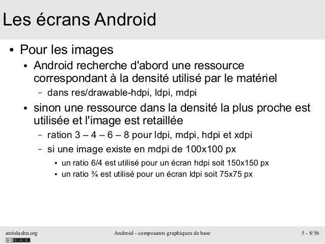 antislashn.org Android - composants graphiques de base 5 - 8/56 Les écrans Android ● Pour les images ● Android recherche d...