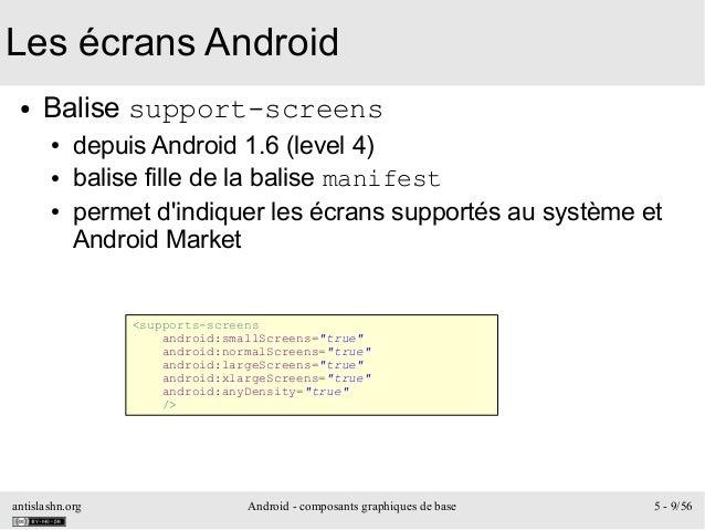 antislashn.org Android - composants graphiques de base 5 - 9/56 Les écrans Android ● Balise support-screens ● depuis Andro...