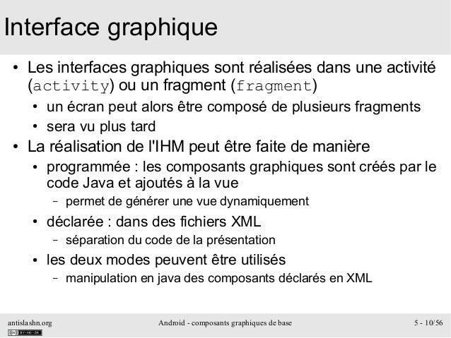 antislashn.org Android - composants graphiques de base 5 - 10/56 Interface graphique ● Les interfaces graphiques sont réal...