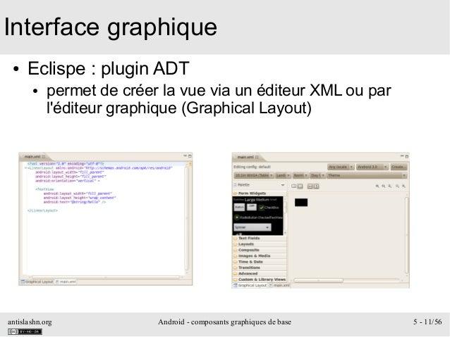 antislashn.org Android - composants graphiques de base 5 - 11/56 Interface graphique ● Eclispe : plugin ADT ● permet de cr...