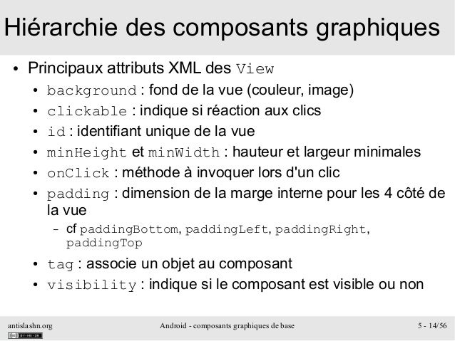 antislashn.org Android - composants graphiques de base 5 - 14/56 Hiérarchie des composants graphiques ● Principaux attribu...