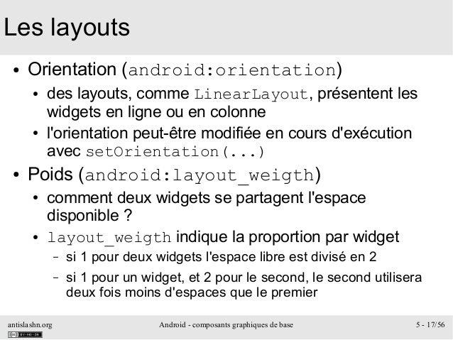 antislashn.org Android - composants graphiques de base 5 - 17/56 Les layouts ● Orientation(android:orientation) ● des lay...