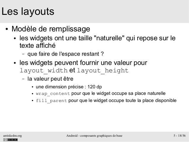 antislashn.org Android - composants graphiques de base 5 - 18/56 Les layouts ● Modèle de remplissage ● les widgets ont une...