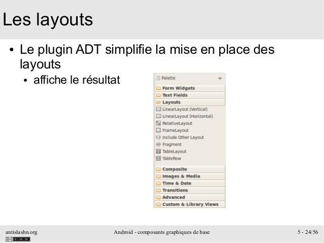 antislashn.org Android - composants graphiques de base 5 - 24/56 Les layouts ● Le plugin ADT simplifie la mise en place de...