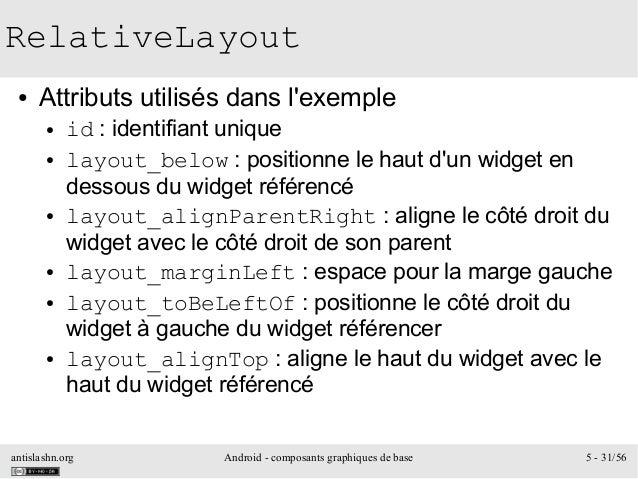antislashn.org Android - composants graphiques de base 5 - 31/56 RelativeLayout ● Attributs utilisés dans l'exemple ● id :...