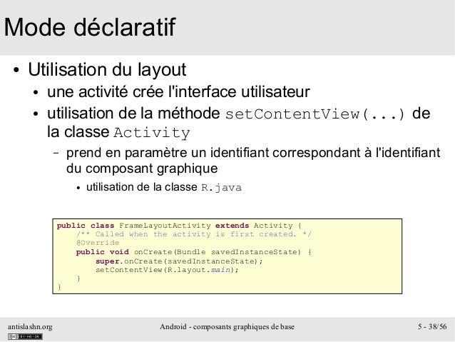 antislashn.org Android - composants graphiques de base 5 - 38/56 Mode déclaratif ● Utilisation du layout ● une activité cr...