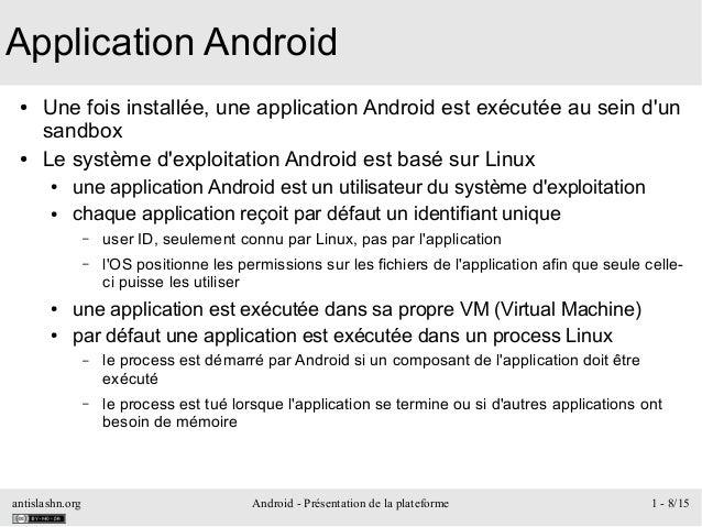 antislashn.org Android - Présentation de la plateforme 1 - 8/15 Application Android ● Une fois installée, une application ...