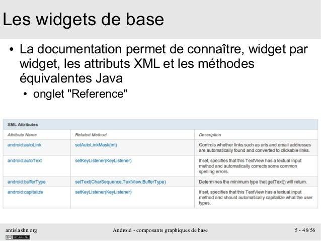 antislashn.org Android - composants graphiques de base 5 - 48/56 Les widgets de base ● La documentation permet de connaîtr...