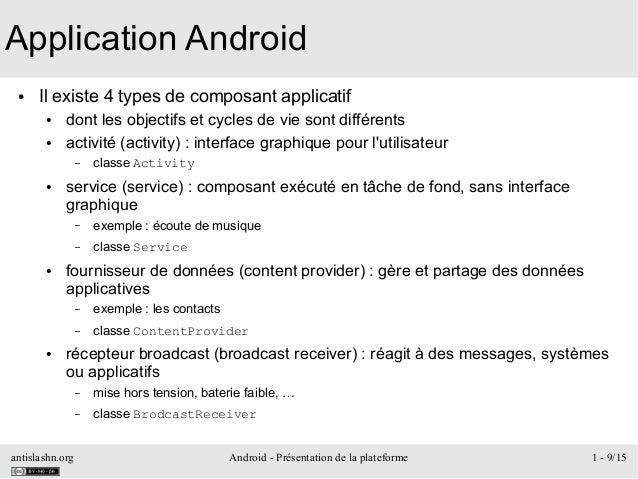 antislashn.org Android - Présentation de la plateforme 1 - 9/15 Application Android ● Il existe 4 types de composant appli...