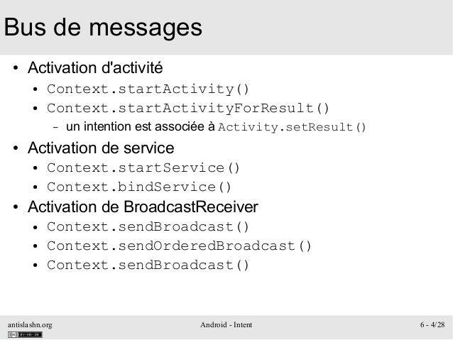 antislashn.org Android - Intent 6 - 4/28 Bus de messages ● Activation d'activité ● Context.startActivity() ● Context.start...