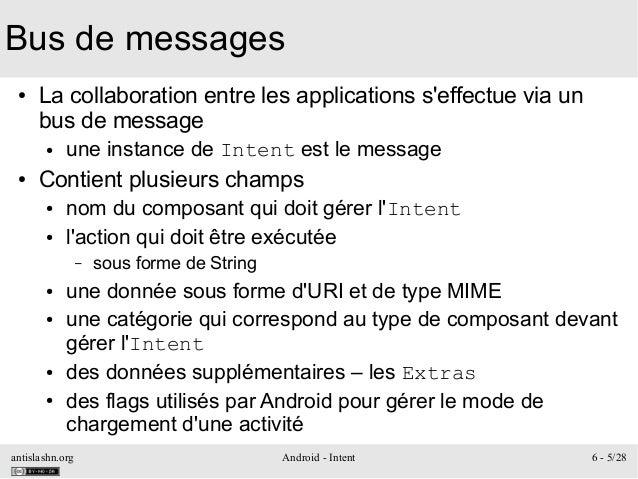 antislashn.org Android - Intent 6 - 5/28 Bus de messages ● La collaboration entre les applications s'effectue via un bus d...