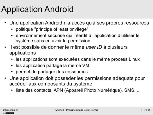 antislashn.org Android - Présentation de la plateforme 1 - 10/15 Application Android ● Une application Android n'a accès q...