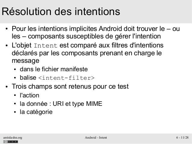 antislashn.org Android - Intent 6 - 11/28 Résolution des intentions ● Pour les intentions implicites Android doit trouver ...