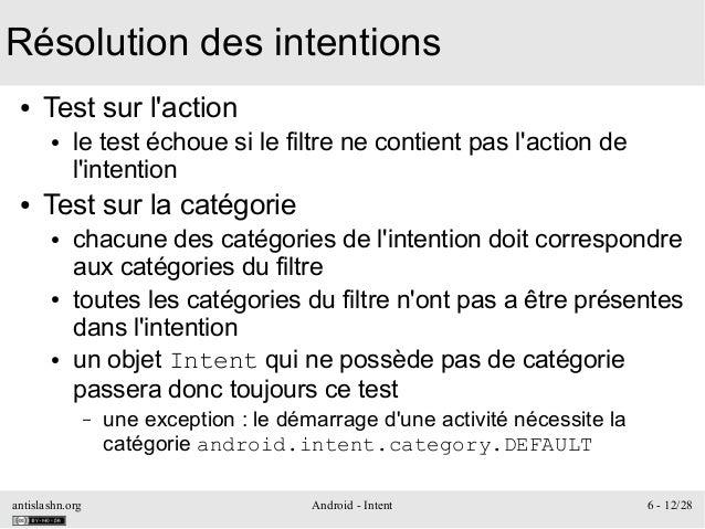 antislashn.org Android - Intent 6 - 12/28 Résolution des intentions ● Test sur l'action ● le test échoue si le filtre ne c...