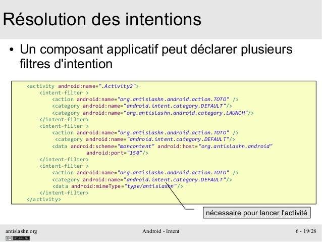 antislashn.org Android - Intent 6 - 19/28 Résolution des intentions ● Un composant applicatif peut déclarer plusieurs filt...