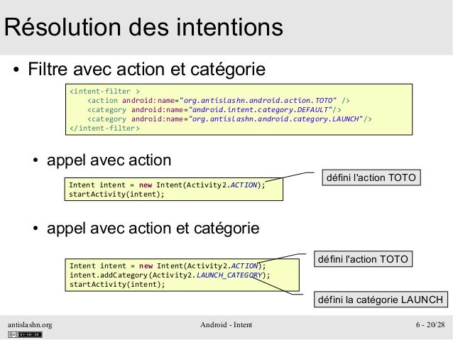 antislashn.org Android - Intent 6 - 20/28 Résolution des intentions ● Filtre avec action et catégorie ● appel avec action ...