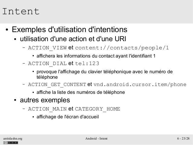antislashn.org Android - Intent 6 - 23/28 Intent ● Exemples d'utilisation d'intentions ● utilisation d'une action et d'une...