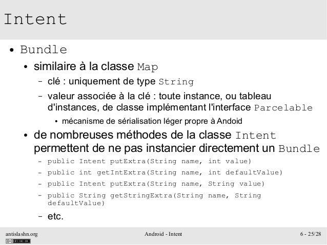 antislashn.org Android - Intent 6 - 25/28 Intent ● Bundle ● similaire à la classe Map – clé : uniquement de type String – ...