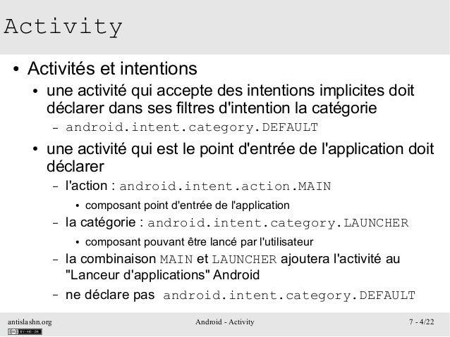 antislashn.org Android - Activity 7 - 4/22 Activity ● Activités et intentions ● une activité qui accepte des intentions im...