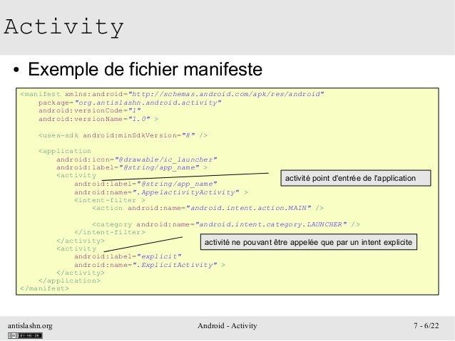 "antislashn.org Android - Activity 7 - 6/22 Activity ● Exemple de fichier manifeste <manifest xmlns:android=""http://schemas..."