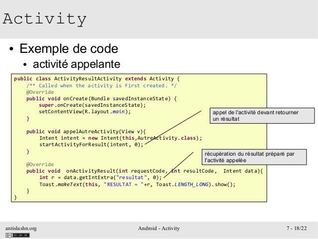 antislashn.org Android - Activity 7 - 18/22 Activity ● Exemple de code ● activité appelante public class ActivityResultAct...