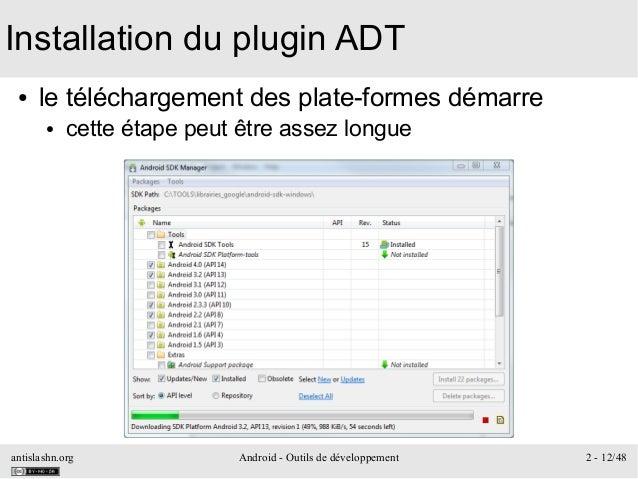 antislashn.org Android - Outils de développement 2 - 12/48 Installation du plugin ADT ● le téléchargement des plate-formes...