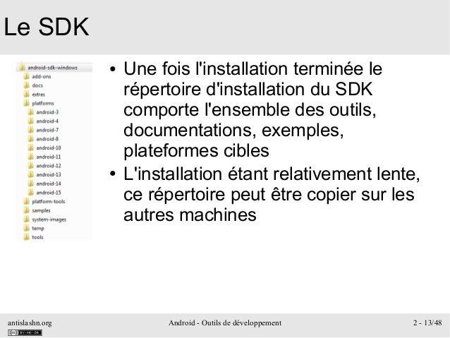 antislashn.org Android - Outils de développement 2 - 13/48 Le SDK ● Une fois l'installation terminée le répertoire d'insta...