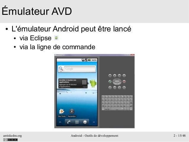 antislashn.org Android - Outils de développement 2 - 15/48 Émulateur AVD ● L'émulateur Android peut être lancé ● via Eclip...