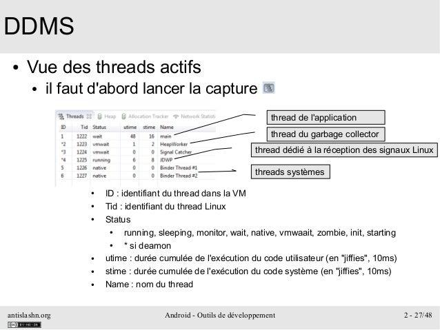 antislashn.org Android - Outils de développement 2 - 27/48 DDMS ● Vue des threads actifs ● il faut d'abord lancer la captu...