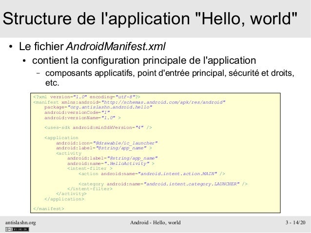 "antislashn.org Android - Hello, world 3 - 14/20 Structure de l'application ""Hello, world"" ● Le fichier AndroidManifest.xml..."
