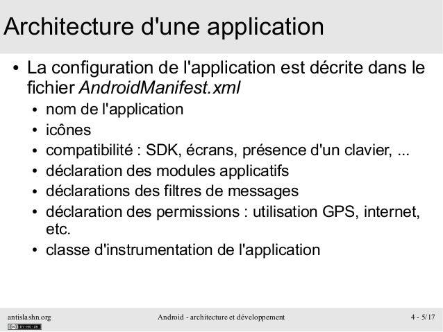 antislashn.org Android - architecture et développement 4 - 5/17 Architecture d'une application ● La configuration de l'app...