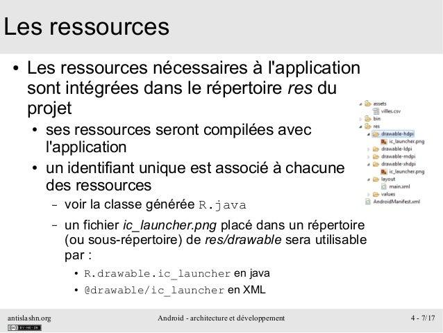 antislashn.org Android - architecture et développement 4 - 7/17 Les ressources ● Les ressources nécessaires à l'applicatio...