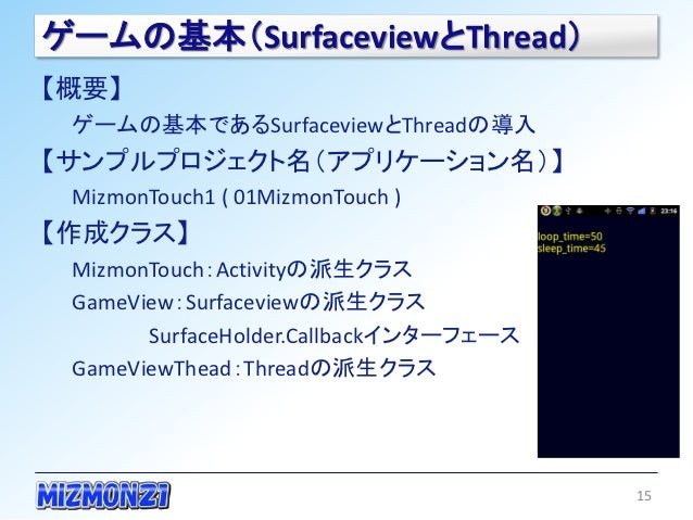 ゲームの基本(SurfaceviewとThread)【概要】 ゲームの基本であるSurfaceviewとThreadの導入【サンプルプロジェクト名(アプリケーション名)】 MizmonTouch1 ( 01MizmonTouch )【作成クラス...