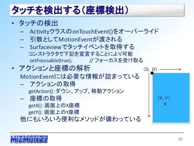 タッチを検出する(座標検出)• タッチの検出 – ActivityクラスのonTouchEvent()をオーバーライド – 引数としてMotionEventが渡される – Surfaceviewでタッチイベントを取得する   コンストラクタで下...