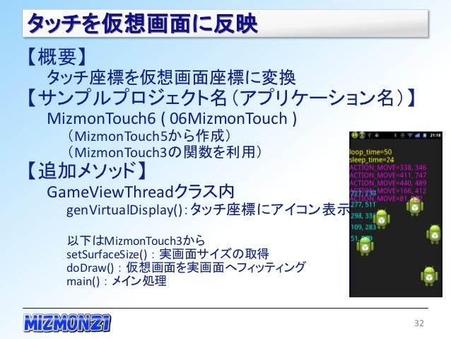 タッチを仮想画面に反映【概要】 タッチ座標を仮想画面座標に変換【サンプルプロジェクト名(アプリケーション名)】 MizmonTouch6 ( 06MizmonTouch )   (MizmonTouch5から作成)   (MizmonTouch...