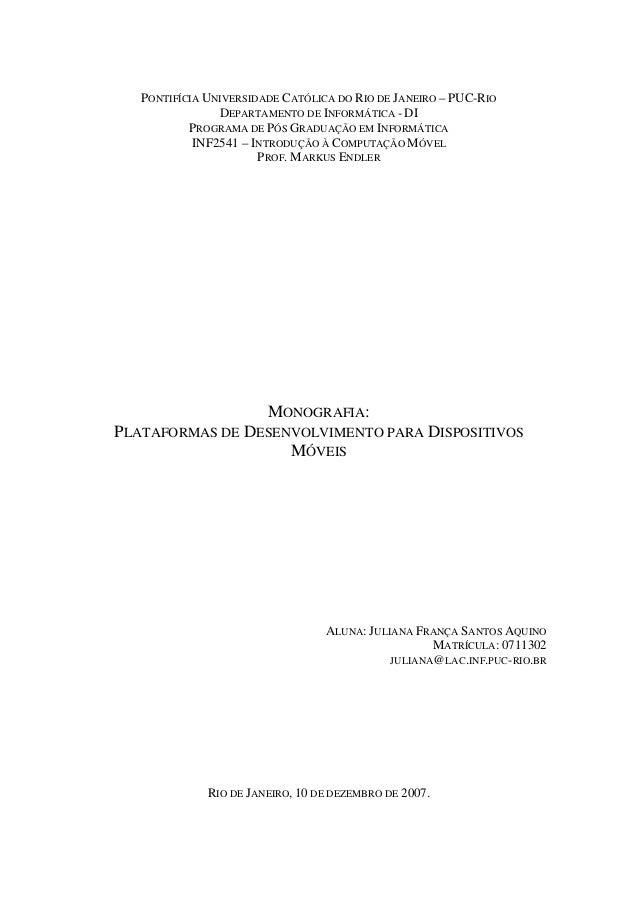 PONTIFÍCIA UNIVERSIDADE CATÓLICA DO RIO DE JANEIRO – PUC-RIO DEPARTAMENTO DE INFORMÁTICA - DI PROGRAMA DE PÓS GRADUAÇÃO EM...