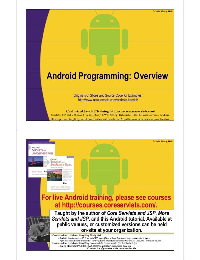 © 2011 Marty HallA d id P i O iAndroid Programming: OverviewOriginals of Slides and Source Code for Examples:http://www.co...