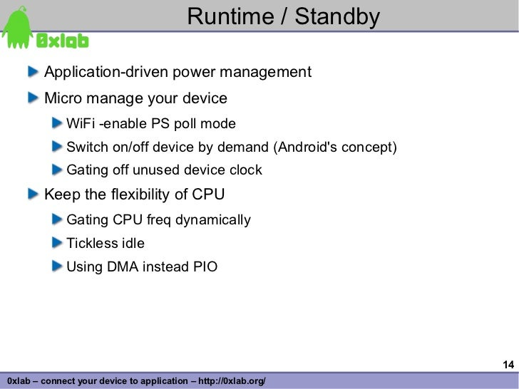 Runtime / Standby          Application-driven power management         Micro manage your device               WiFi -enable...