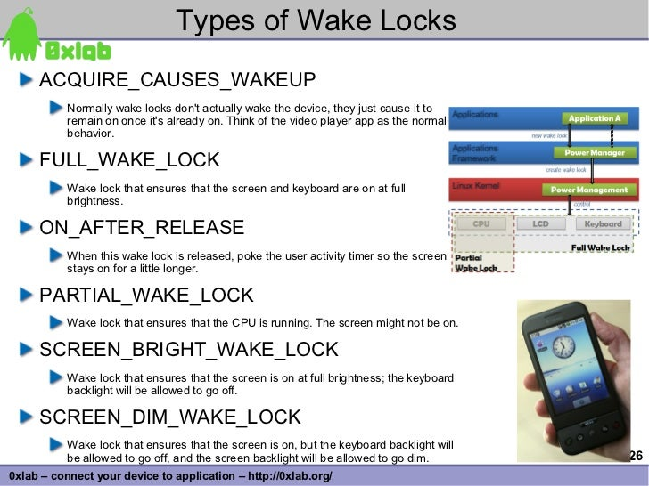 Types of Wake Locks      ACQUIRE_CAUSES_WAKEUP            Normally wake locks don't actually wake the device, they just ca...